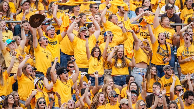 Aug 31, 2019; Laramie, WY, USA; Wyoming Cowboys fans against the Missouri Tigers at War...
