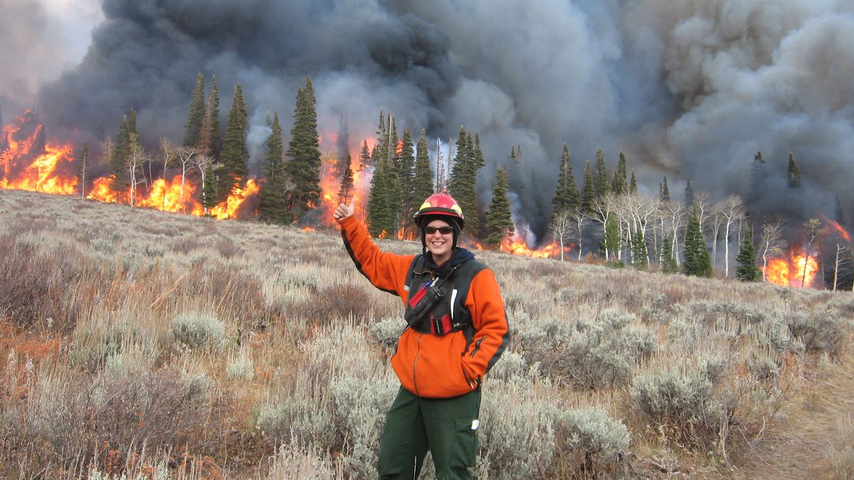 WWNRT Partner of the Year Jill Randall working on a prescribed burn in the Wyoming Range.