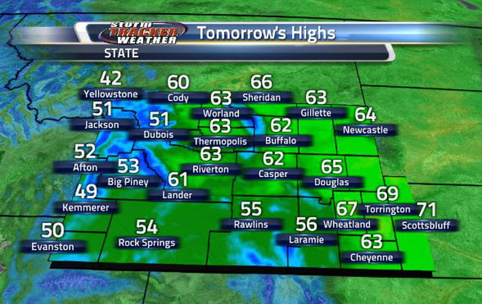 High temperatures will be in the 50s and 60s tomorrow.