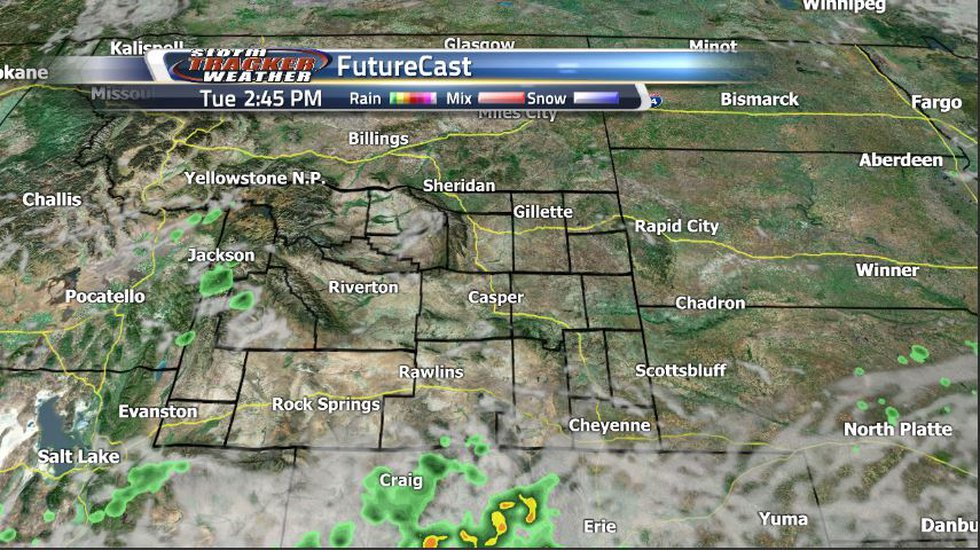 Much of the scattered showers and storm expected tomorrow will stick to the Wyoming and...