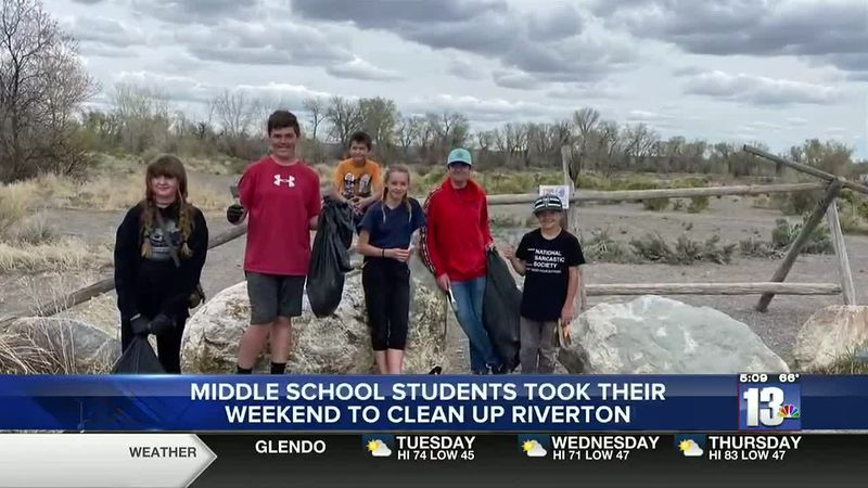 Community Improvement Association middle school students cleaning up the Rendezvous site in...
