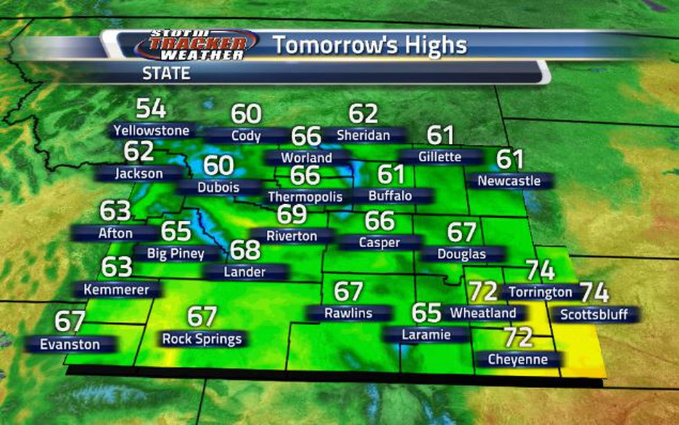 High temperatures are going to be in the 60s for most of the state.