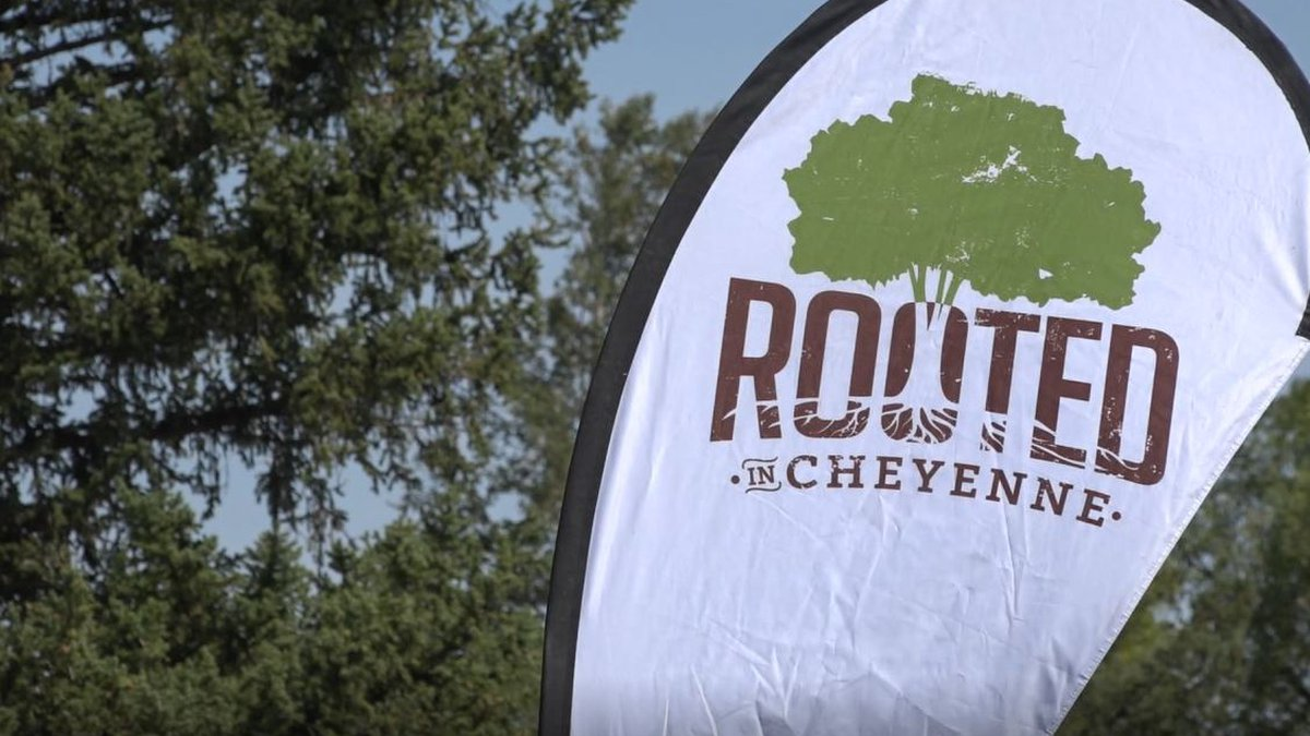 A Rooted in Cheyenne flag at the Arbor Day celebration in October 2020.