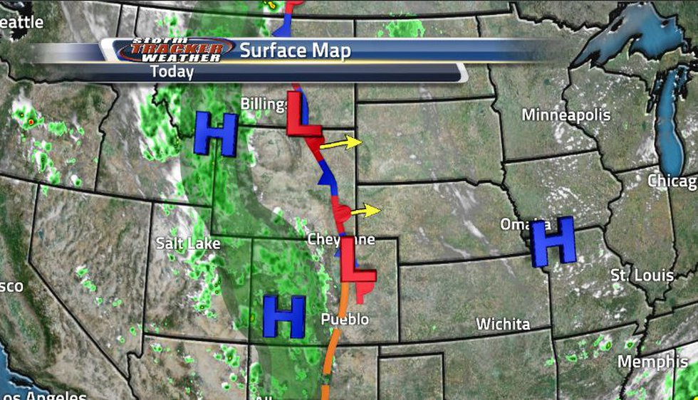 This stationary front sitting right over us will move out to the east turning into a warm front...