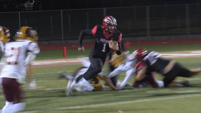 Central QB Keagan Bartlett (#1) scored six total touchdowns in the Indians' 58-13...