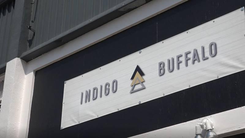 The Indigo Buffalo Turquoise logo outside its building on Tuesday, July 20, 2021.