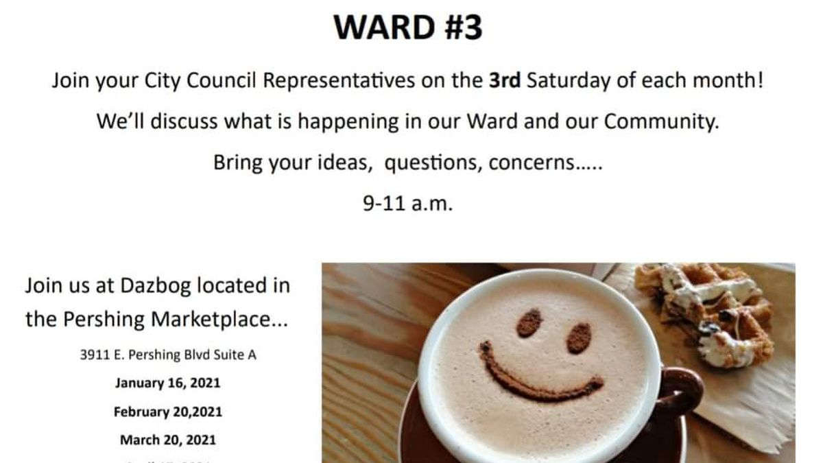 Council and coffee with your Ward's City Council representatives.