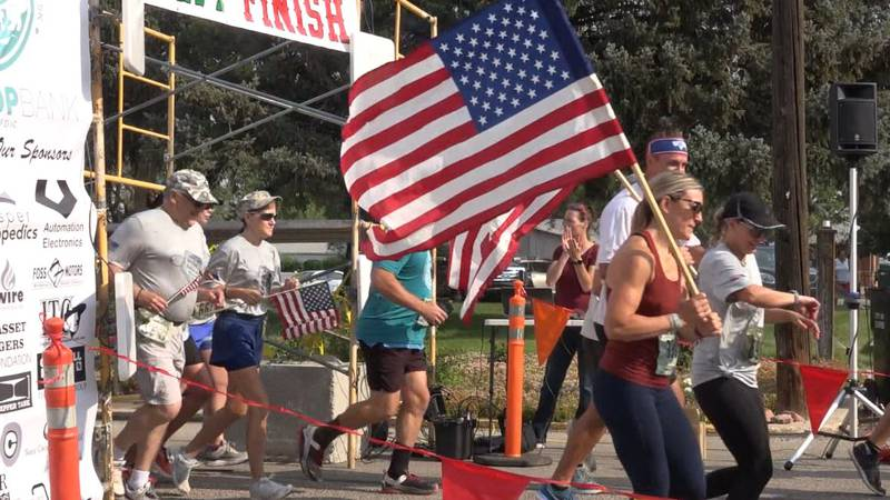 Runners taking off at the Casper Chase Fallen Soldiers Memorial 5K July 13th in Casper, Wyoming.
