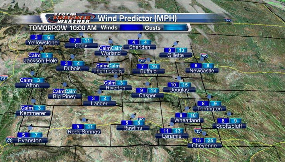 Winds will be increasing tomorrow morning.