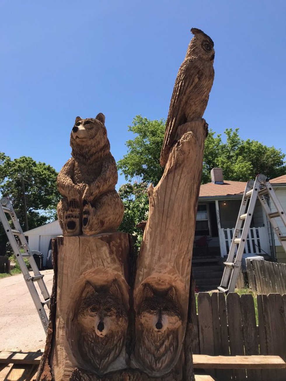 The final product of Chainsaw Mama's sculpture in Cheyenne on Wednesday.