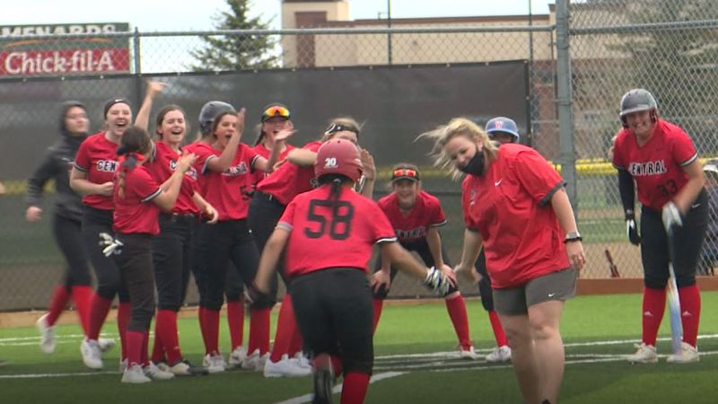 Ashley Bunch heads home after a three-run home run in Central's 20-1 win over #4 East.