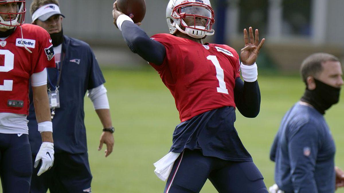 New England Patriots quarterback Cam Newton throws during an NFL football training camp practice, Tuesday, Aug. 25, 2020, in Foxborough, Mass. (AP Photo/Steven Senne, Pool) (Source: Steven Senne)