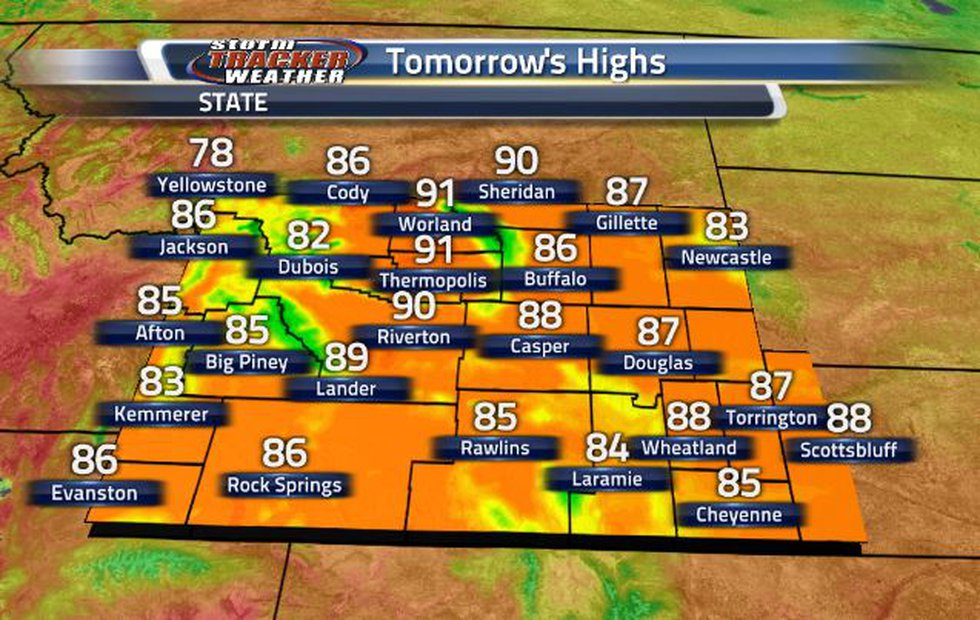 Tomorrow's temperatures are going to be a lot like today's, sitting in the 80s.