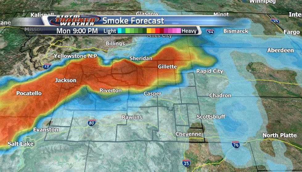 Smoke was seen in the southern regions of the state and will be moving to the north tomorrow...