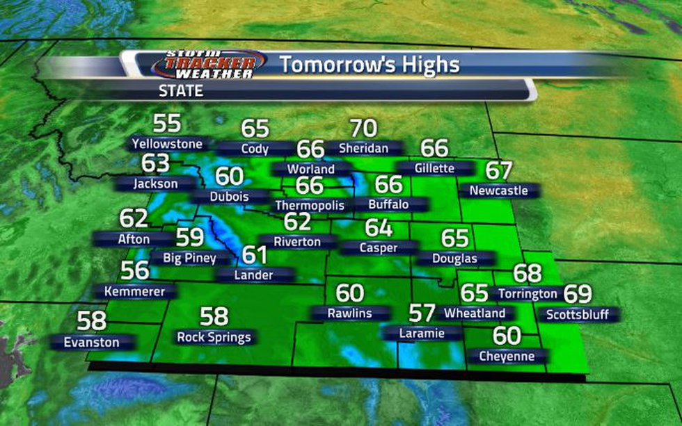 High temperatures will be slightly warmer tomorrow.