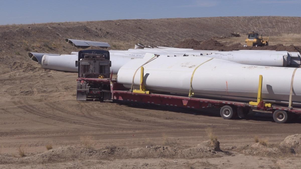 A semi-truck hauls a turbine blade to the Casper Regional Landfill to be disposed of.