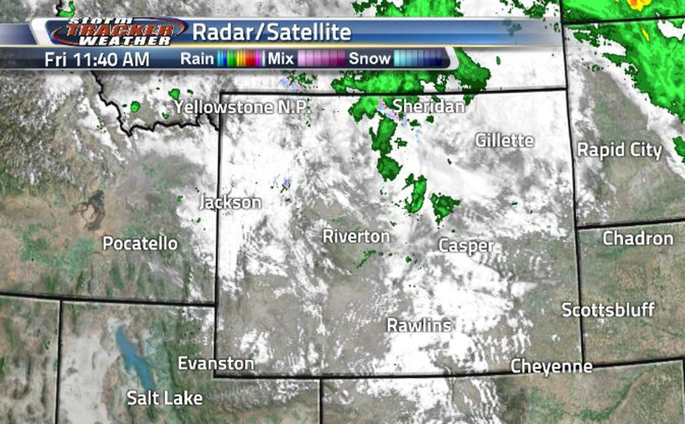 The rain system is moving out and is leaving clouds behind in the state.