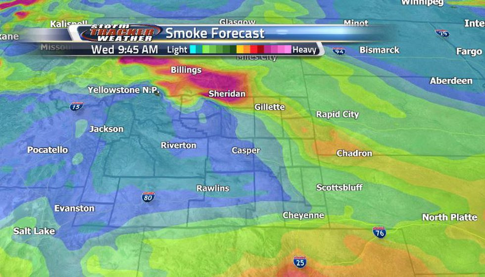 Our smoke forecast is showing a shift in our wind leading to much less of that thick smoke over...