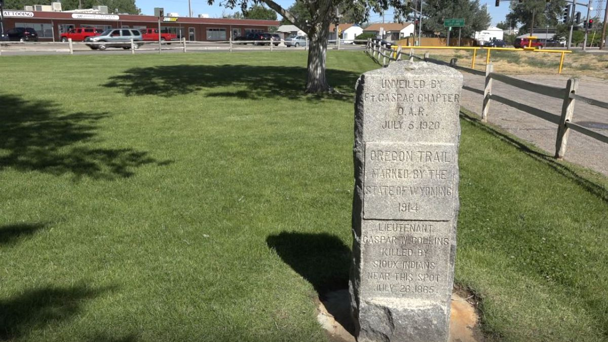 The monument that will be rededicated at Mills Memorial Park Sunday.