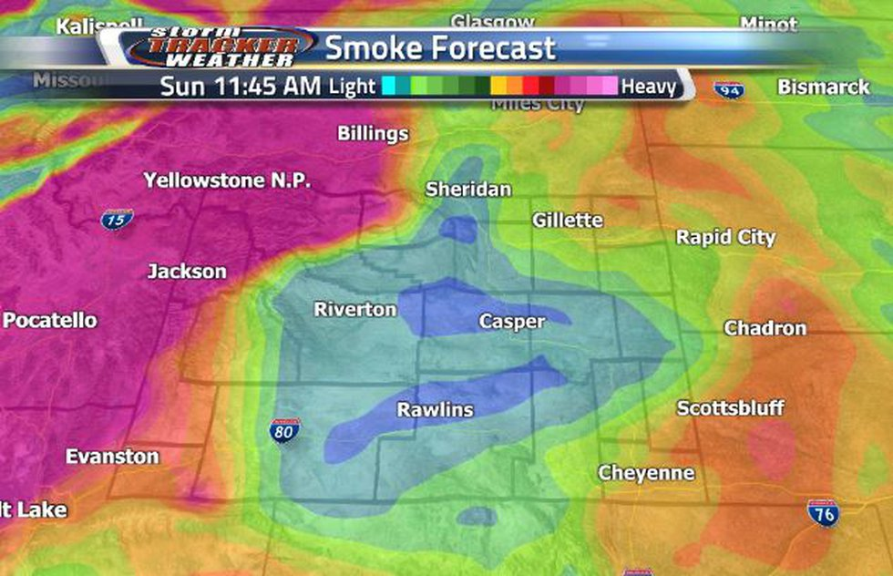 Sunday will clear some of the smoke out, with the heaviest being along the western border.