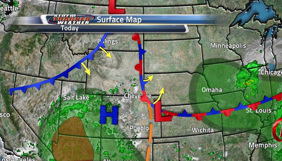 The cold front is already starting to make it's way through the northeastern corner of the...