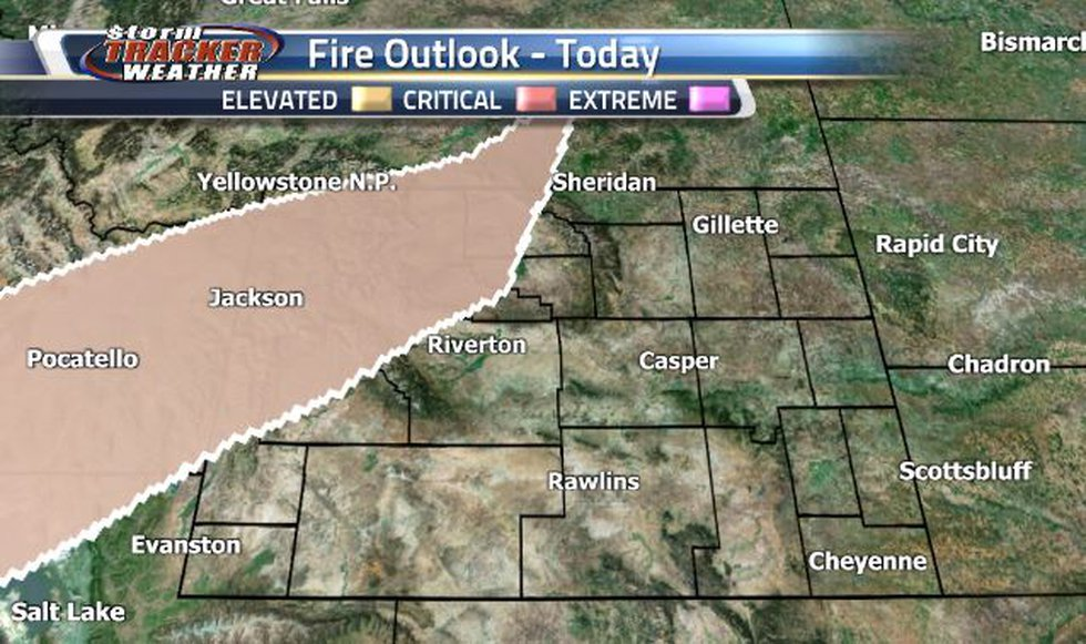 The only risk on our Fire Outlook today is a dry thunderstorm risk in the northwest corner.