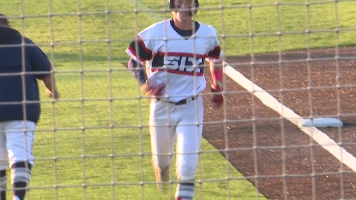 Colter McAnelly trots home after hitting a home run against Mudville Baseball on July 6, 2021.