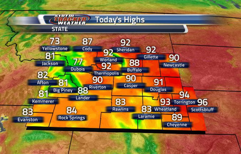 High temperatures are in the 80s and 90s today, with the 90s being in the northeastern corner...