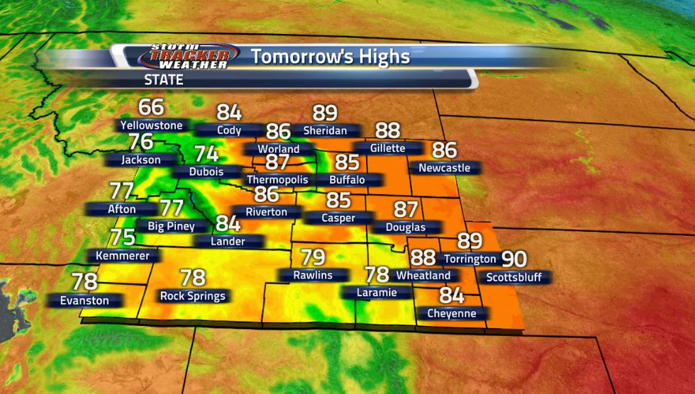 Tomorrow will be a few degrees warmer than today all across the state.