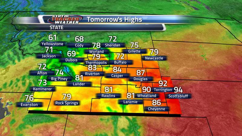 The northern cities will stay cooler due to the front while the rest of the state will be hot...