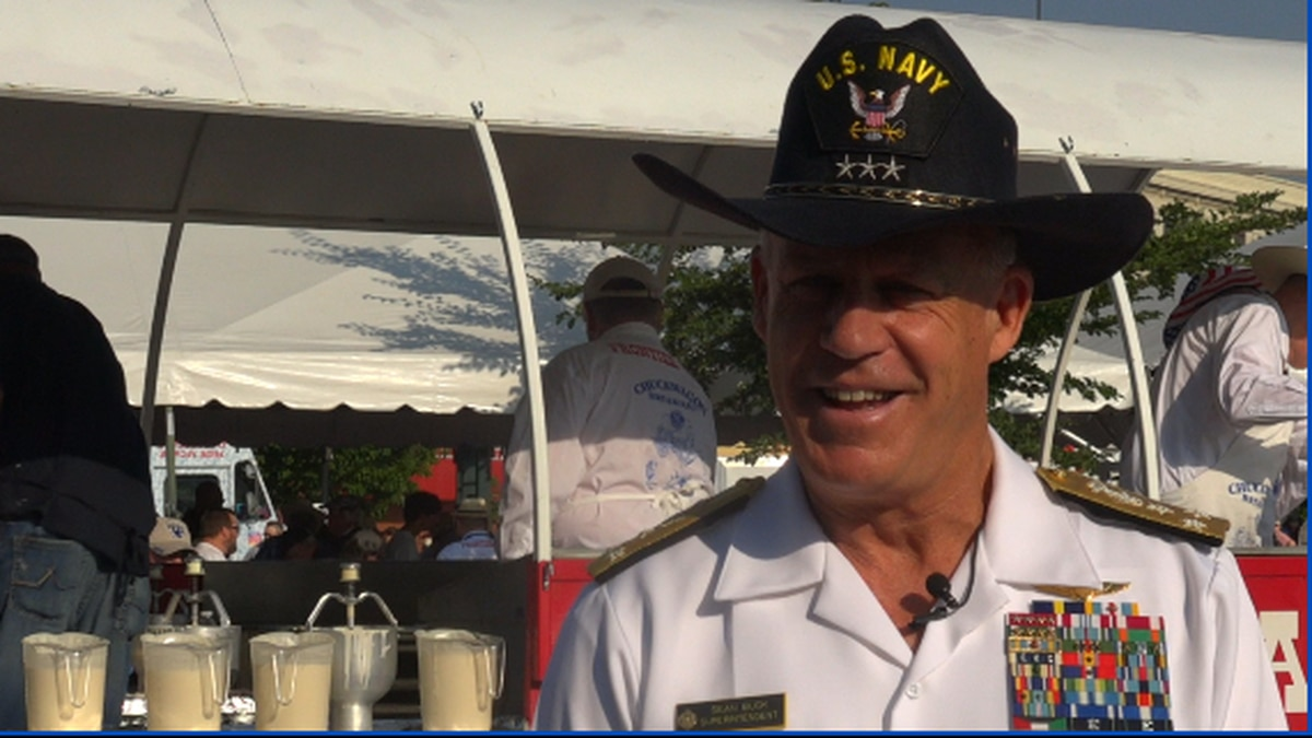 Navy at Depot Plaza pancake breakfast for Navy Week, with Vice-Admiral Sean Buck