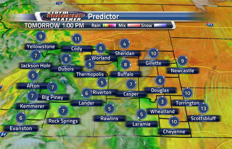 Clouds will move into Wyoming from the southwest.