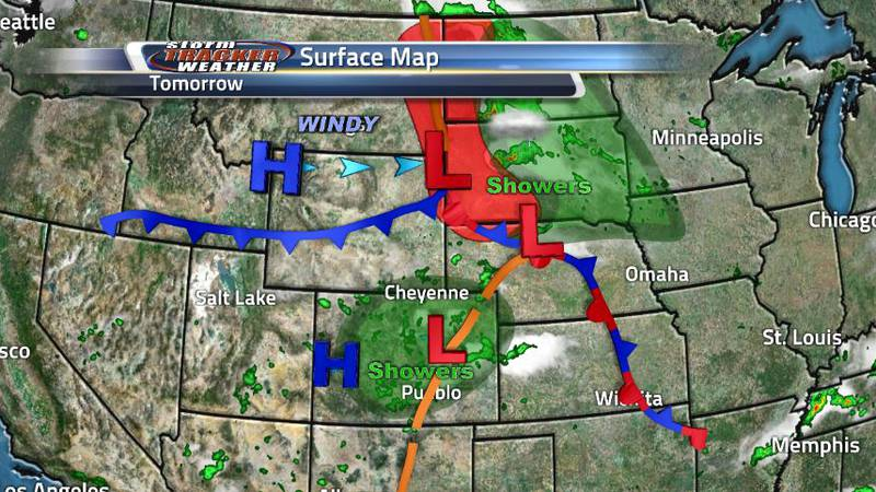 Surface map shows what we can expect tomorrow in terms of battling pressure systems and the...