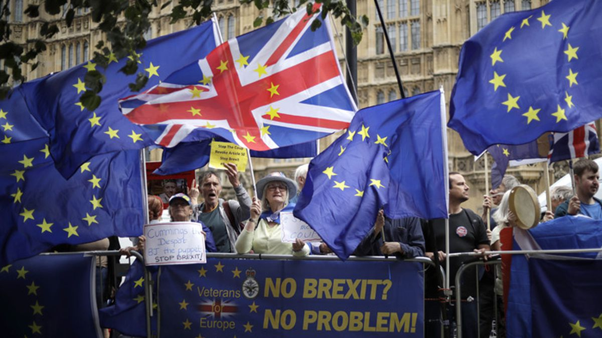Remain supporters wave flags and hold signs as they protest opposite Parliament Square in London, Tuesday, Sept. 3, 2019. Parliament was reconvening Tuesday for a pivotal day in British politics as lawmakers challenge British Prime Minister Boris Johnson's insistence that the U.K. will leave the European Union on Oct. 31, 2019 even without a deal. (AP Photo/Matt Dunham)