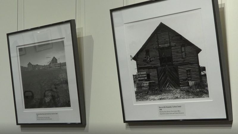 """Two of the photographs from the """"Barn Here"""" collection currently on display at Fort Caspar..."""