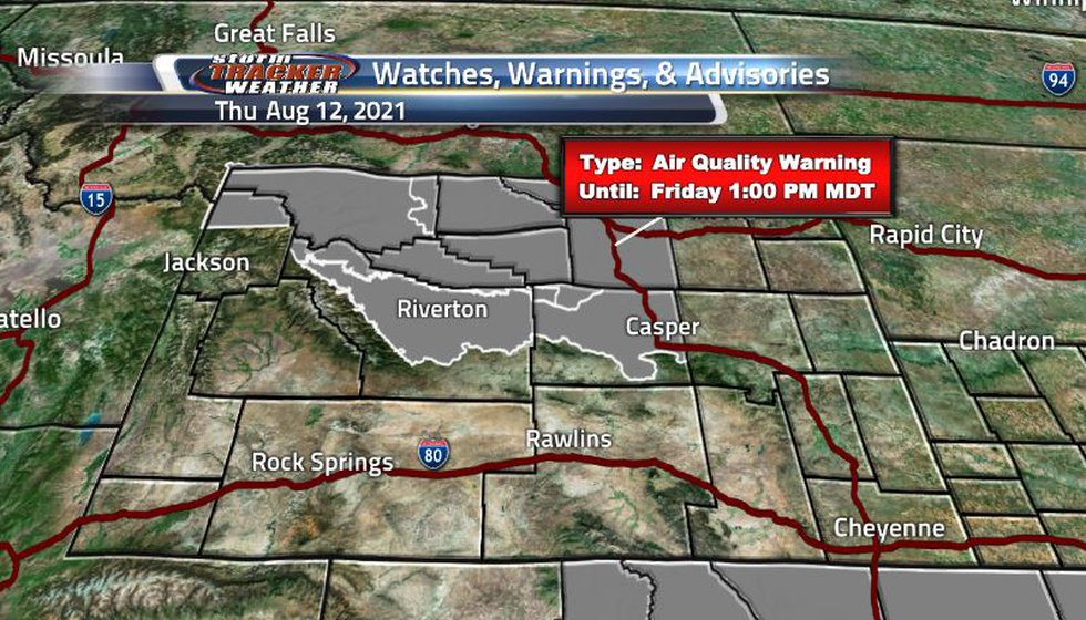 We still see some air quality warning for the north central side of the state as the winds have...