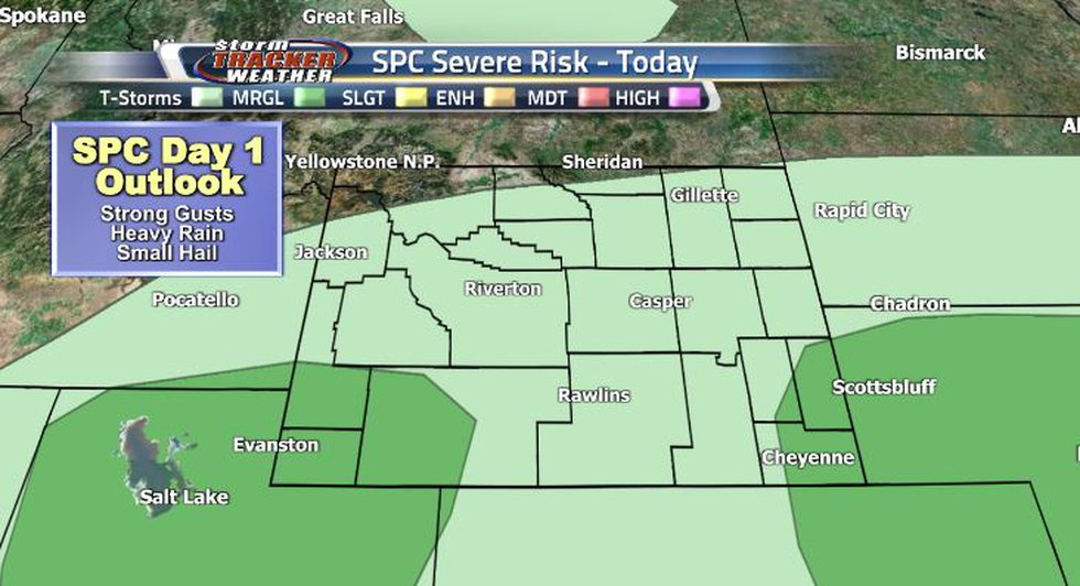 The SPC is issuing a general thunderstorm risk over most of the state with marginal risks in...