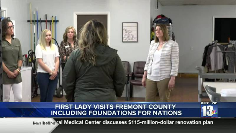 First Lady Jennie Gordon visits Foundation for Nations food pantry in Riverton, WY