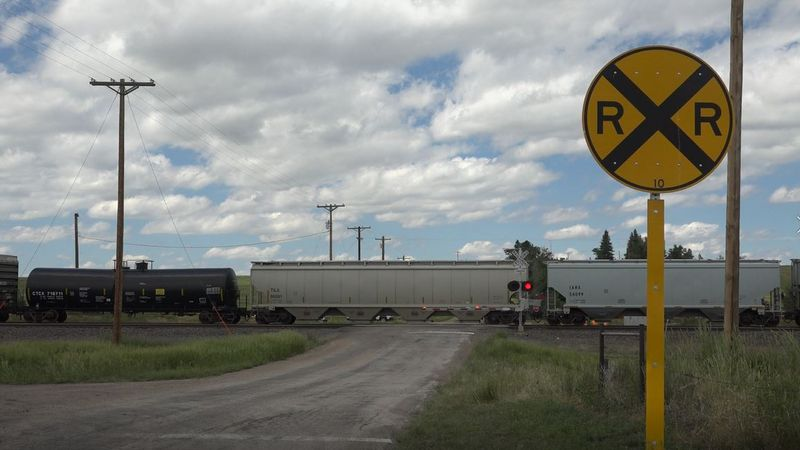 The train tracks near Hillsdale that are currently blocked due to the derailment on Monday...