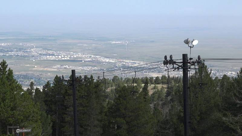 A view of the city of Casper and the ski lift at Hogadon with the new lights