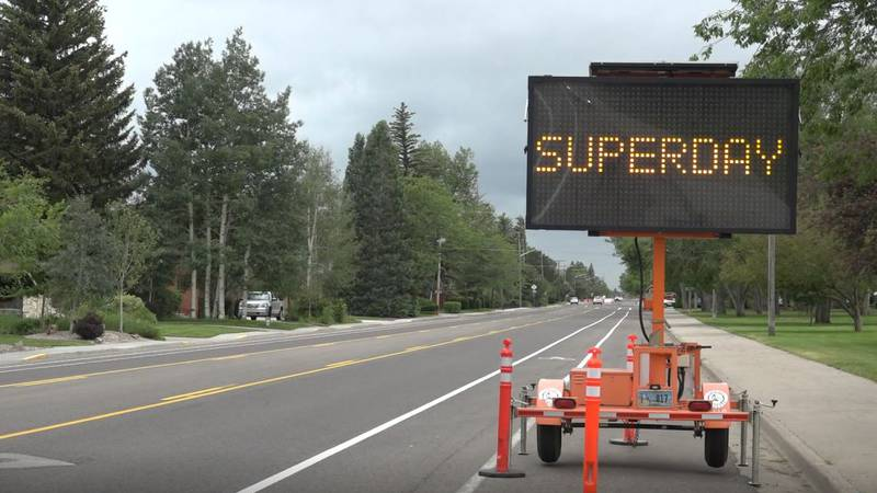 The Superday traffic sign near Lions Park on Friday June 25, 2021.