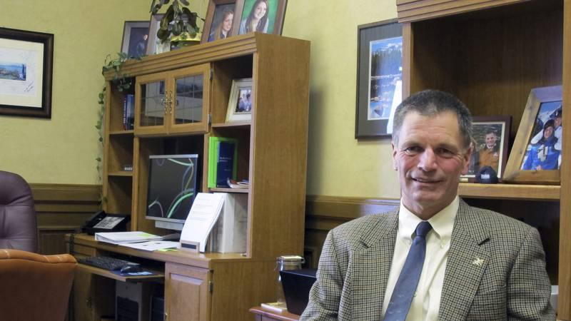 FILE - In this Jan. 14, 2014, file photo, Wyoming State Treasurer Mark Gordon sits in his...