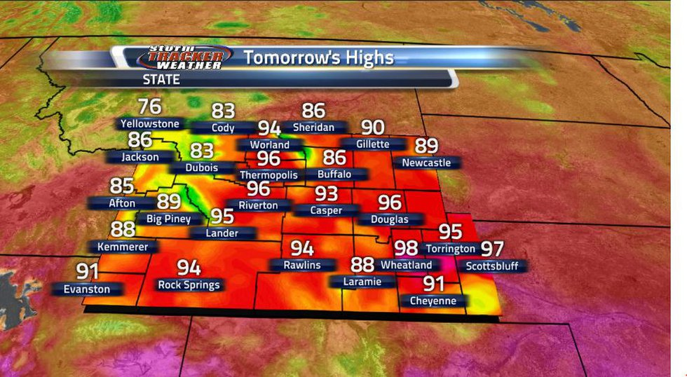 After one of the hottest days in Wyoming, the heat is still on for tomorrow, but it won't be as...