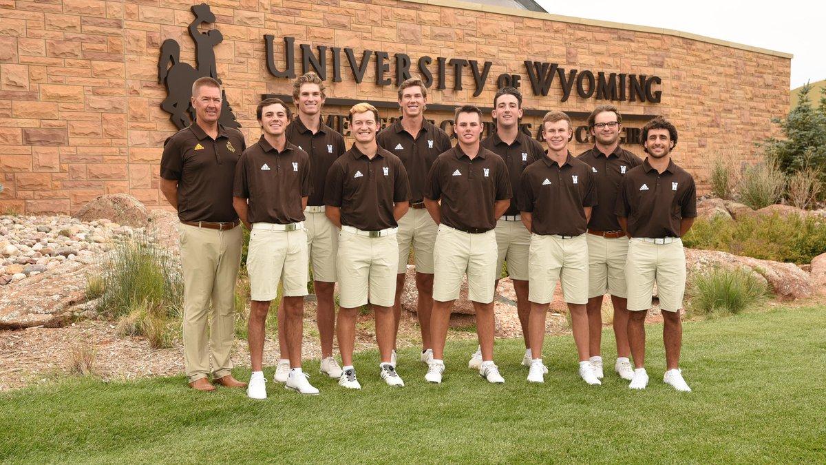 The 2021-22 Wyoming Cowboy Golf Team: (Back Row, Left to right) Joe Jensen (UW Director of Golf...