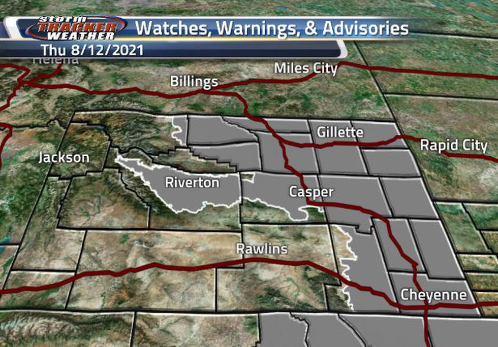 Air Quality Warnings are in the eastern half of the state.