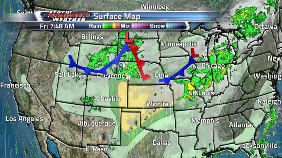 There is a cold front throughout Wyoming, that has now extended into the southeast corner of...