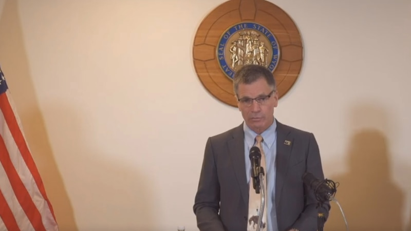 Governor Mark Gordon speaks at a press conference Wednesday afternoon.