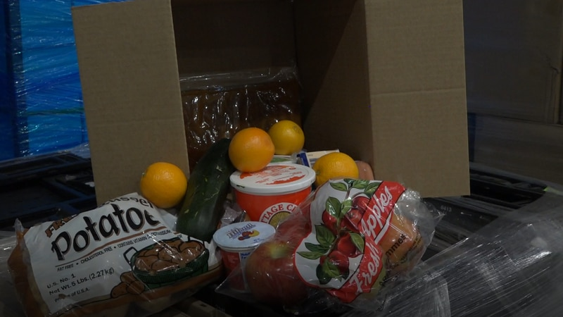 A box of food headed to Cheyenne on Saturday