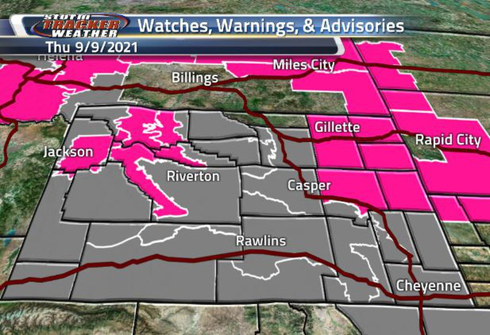 Wyoming is covered Air quality and Fire Weather Warnings today.