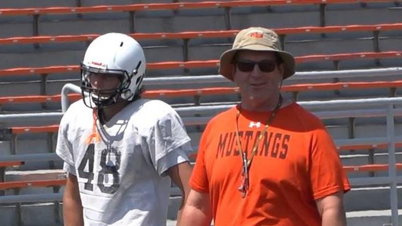 Natrona County High School Football Head Coach Steve Harshman looks on at practice on August...